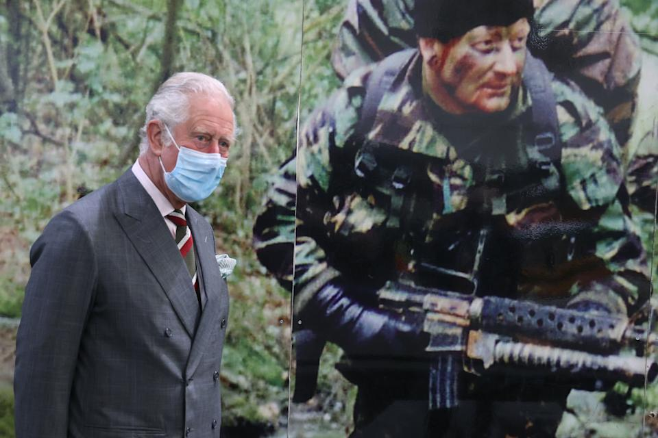 CARDIFF, UNITED KINGDOM - MAY 14: Prince Charles, Prince of Wales visits supplier of protective, medical and defence equipment, BCB International, on May 14, 2021 in Cardiff, United Kingdom. (Photo by Chris Jackson - WPA Pool/Getty Images)