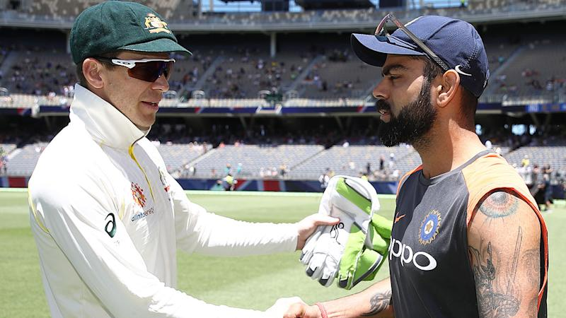 Pictured here, Australia and India Test cricket captains Tim Paine and Virat Kohli, respectively.
