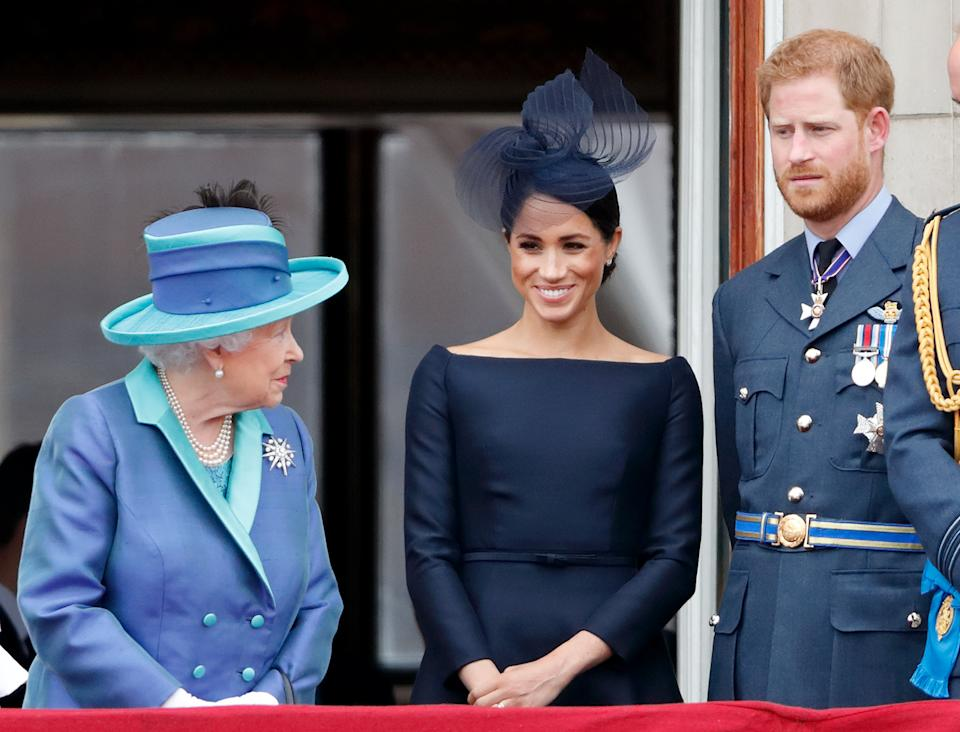 Bates said the Royal Family doesn't always react well to those who try to leave. Harry and Meghan here with the Queen in July 2018. (Getty Images)