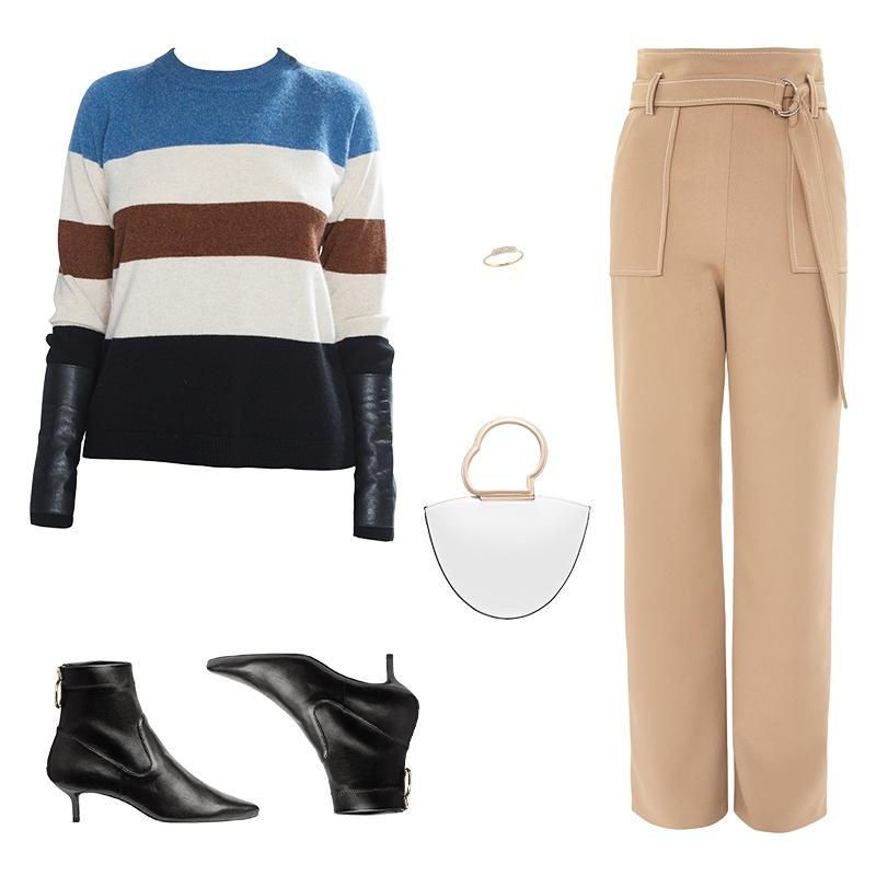 """<a rel=""""nofollow"""" href=""""https://rstyle.me/n/cwmt5dchdw"""">Gus Cashmere Sweater Stripe, Veda, $278<p>A multi-colored knit instantly jazzes up a pair of tailored trousers. Sleek accessories ensure the look is sophisticated enough for the office.</p> </a><a rel=""""nofollow"""" href=""""https://click.linksynergy.com/deeplink?id=30KlfRmrMDo&mid=35861&murl=http%3A%2F%2Fus.topshop.com%2Fen%2Ftsus%2Fproduct%2Fclothing-70483%2Fpants-70502%2Ftopstitch-wide-leg-trousers-7305109%3Fbi%3D0%26ps%3D20%20%20"""">Topstitch Wide Leg Trousers, Topshop, $100<p>A multi-colored knit instantly jazzes up a pair of tailored trousers. Sleek accessories ensure the look is sophisticated enough for the office.</p> </a><a rel=""""nofollow"""" href=""""https://rstyle.me/n/cwmt55chdw"""">Leather Ankle Boots, H&M, $70<p>A multi-colored knit instantly jazzes up a pair of tailored trousers. Sleek accessories ensure the look is sophisticated enough for the office.</p> </a><a rel=""""nofollow"""" href=""""https://rstyle.me/~afMgQ"""">Lilou Leather Tote, Danse Lente, $455<p>A multi-colored knit instantly jazzes up a pair of tailored trousers. Sleek accessories ensure the look is sophisticated enough for the office.</p> </a><a rel=""""nofollow"""" href=""""http://barbeladesign.com/product/diamond-cole-ring/"""">Diamond Cole Ring, Barbela Design, $700<p>A multi-colored knit instantly jazzes up a pair of tailored trousers. Sleek accessories ensure the look is sophisticated enough for the office.</p> </a><p>     <strong>Related Articles</strong>     <ul>         <li><a rel=""""nofollow"""" href=""""http://thezoereport.com/fashion/style-tips/box-of-style-ways-to-wear-cape-trend/?utm_source=yahoo&utm_medium=syndication"""">The Key Styling Piece Your Wardrobe Needs</a></li><li><a rel=""""nofollow"""" href=""""http://thezoereport.com/living/relationships/top-baby-names-2018/?utm_source=yahoo&utm_medium=syndication"""">These Are The Top Baby Names For 2018</a></li><li><a rel=""""nofollow"""" href=""""http://thezoereport.com/entertainment/culture/even-the-fashion-sets-favorite-fitness-mogul-was"""
