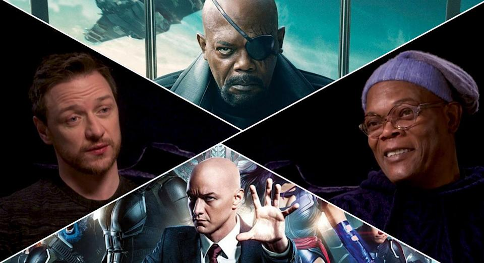 James McAvoy and Samuel L Jackson play bald heroes in opposing Marvel universes that may one day collide. (Disney/20th Century Fox)