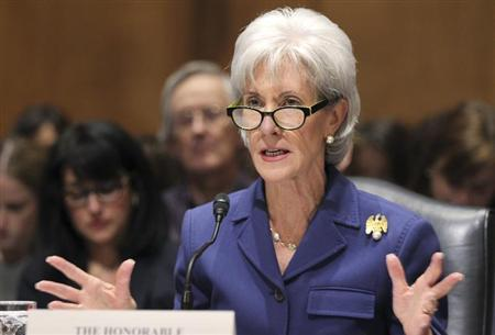 "HHS Secretary Sebelius testifies before Senate Finance Committee hearing about ""Obamacare"" on Capitol Hill in Washington"