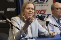 """FILE - Big East Conference Commissioner Val Ackerman speaks to reporters after the remaining NCAA college basketball games in the men's Big East Conference tournament were cancelled due to concerns about the coronavirus, at Madison Square Garden in New York, in this Thursday, March 12, 2020, file photo. Ackerman says she has heard concerns from athletic directors about """"a finite amount of resources"""" as changes to college sports financing loom. A new AP survey of athletic directors and conversations with ADs and conference commissioners during March Madness show some have questions about what would happen to women's college sports under proposals that would put more money in the pockets of some athletes. (AP Photo/Mary Altaffer, File)"""