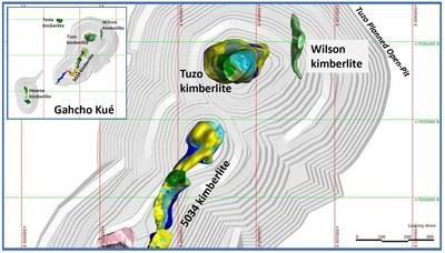Plan view of the Wilson kimberlite. Inset shows the location relative to other kimberlites in the Gahcho Kué JV area. The planned open-pit mine pit shells are shown in pale gray. (CNW Group/Mountain Province Diamonds Inc.)