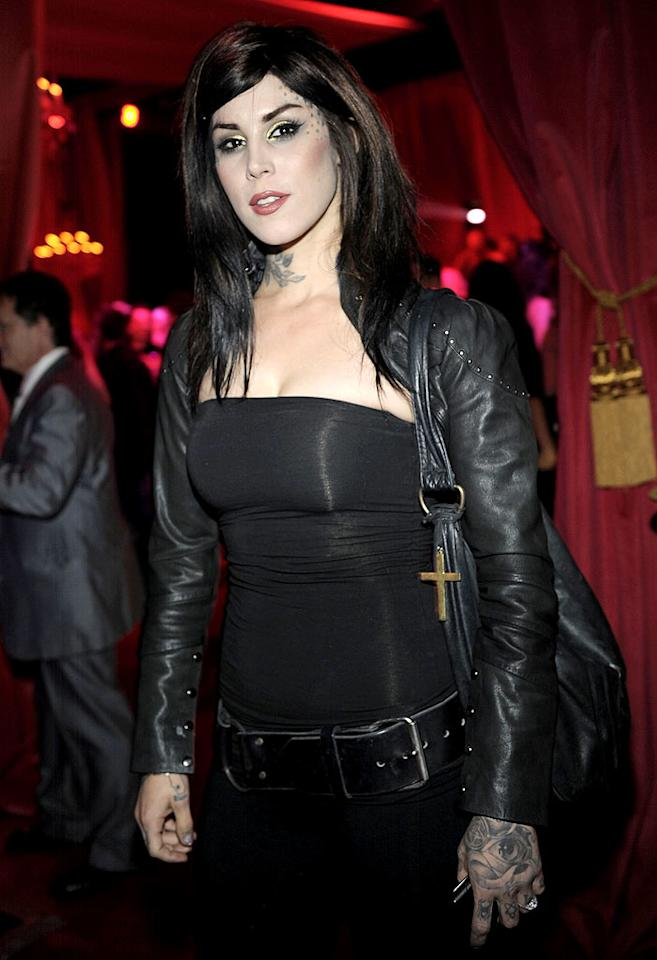 """Tattooed reality star Kat Von D enjoyed the fete without her honey, Sandra Bullock's unfaithful ex Jesse James. At one point during the night Kat tweeted, """"At this party. Listening to a man on a piano singing 'When The Stars Go Blue' by Ryan Adams. Seriously wish this moment would never end."""" Charley Gallay/<a href=""""http://www.gettyimages.com/"""" target=""""new"""">GettyImages.com</a> - October 9, 2010"""