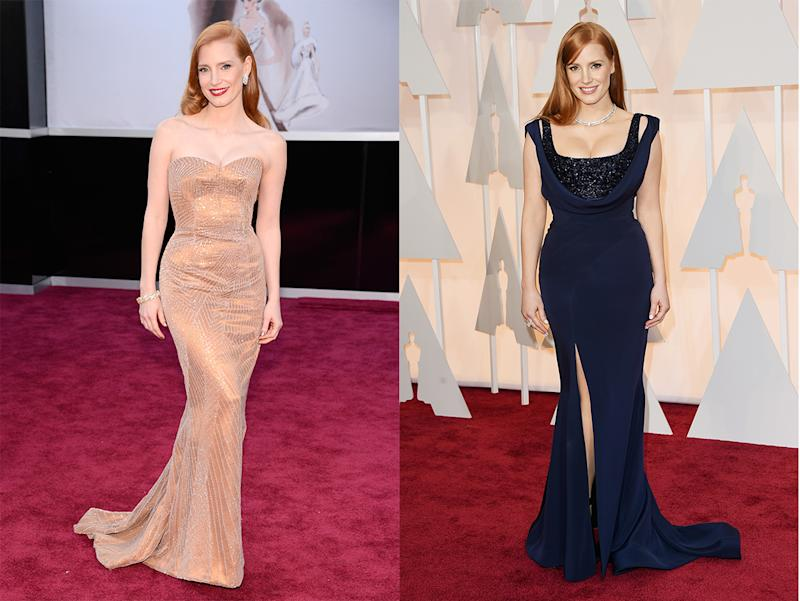 Jessica Chastain at the Oscars in 2013 and 2015. (Photo: Getty Images)