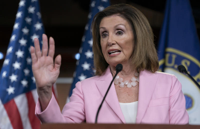 Speaker of the House Nancy Pelosi, D-Calif., meets with reporters just after the House Judiciary Committee approved guidelines for impeachment hearings on President Donald Trump, at the Capitol in Washington, Thursday, Sept. 12, 2019. (AP Photo/J. Scott Applewhite)
