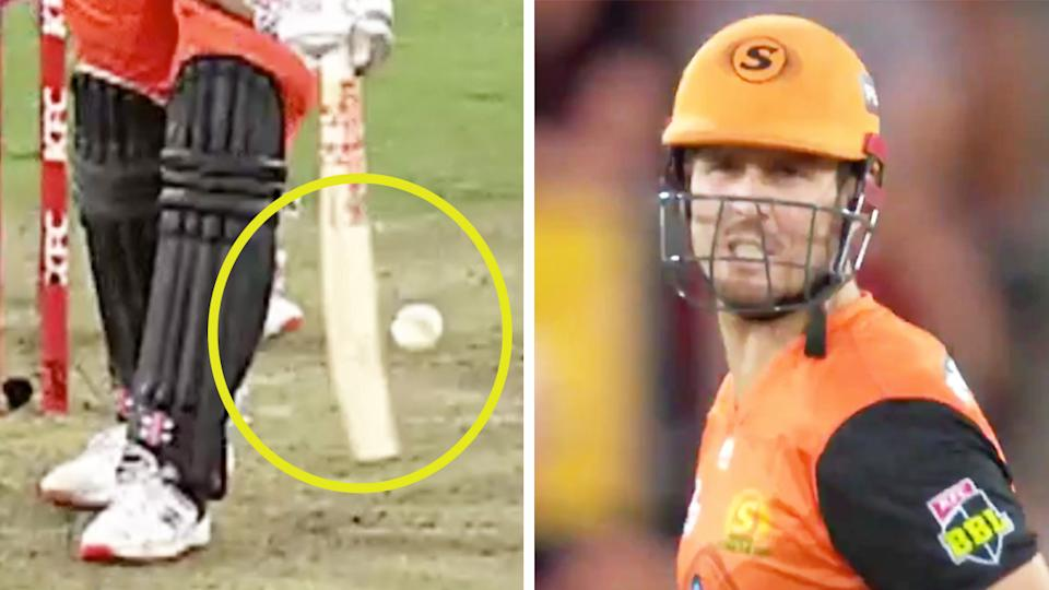 Mitch Marsh (pictured right) yelling towards the umpire after he was given out despite missing the ball (pictured left).