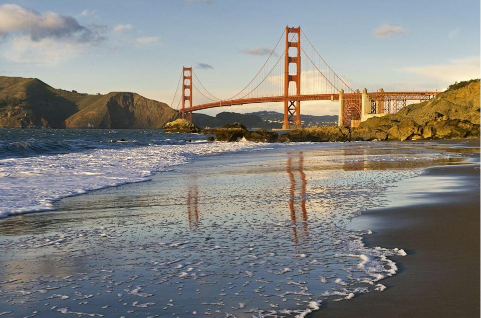 <p>While San Francisco might not be the sunny beach town you would imagine to see on a list like this, Baker Beach is worth visiting for the spectacular views of the Golden Gate Bridge. Fair warning: the northernmost end of the beach is clothing optional.</p>