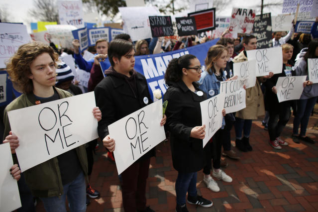 "<p>People participate in a ""March For Our Lives"" event Saturday, March 24, 2018, in Norfolk, Va. (Stephen M. Katz/The Virginian-Pilot via AP) </p>"