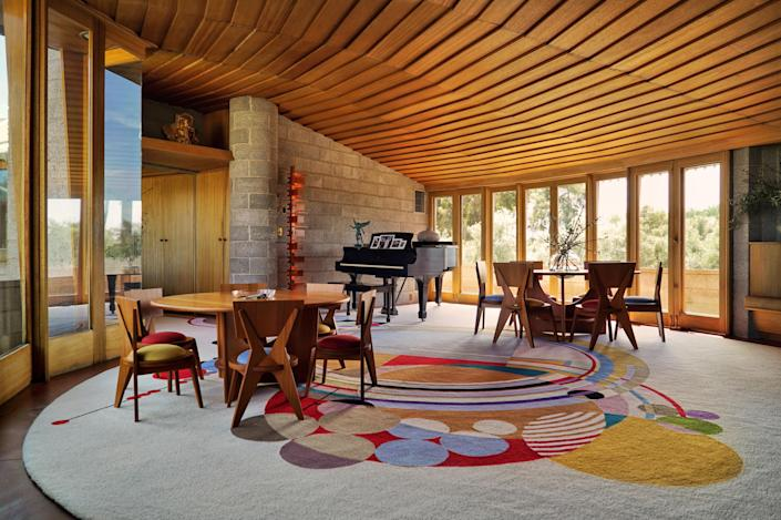 An inside view of the round home Wright built for his son in the 1950s.