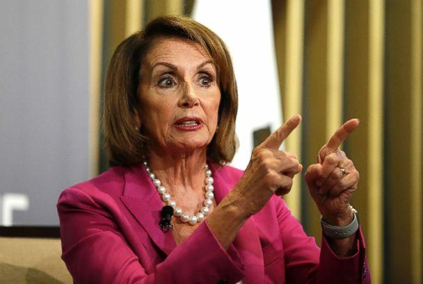 PHOTO: House Minority Leader Nancy Pelosi gestures while speaking at the Public Policy Institute of California, Aug. 22, 2018, in San Francisco. (Eric Risberg/AP)