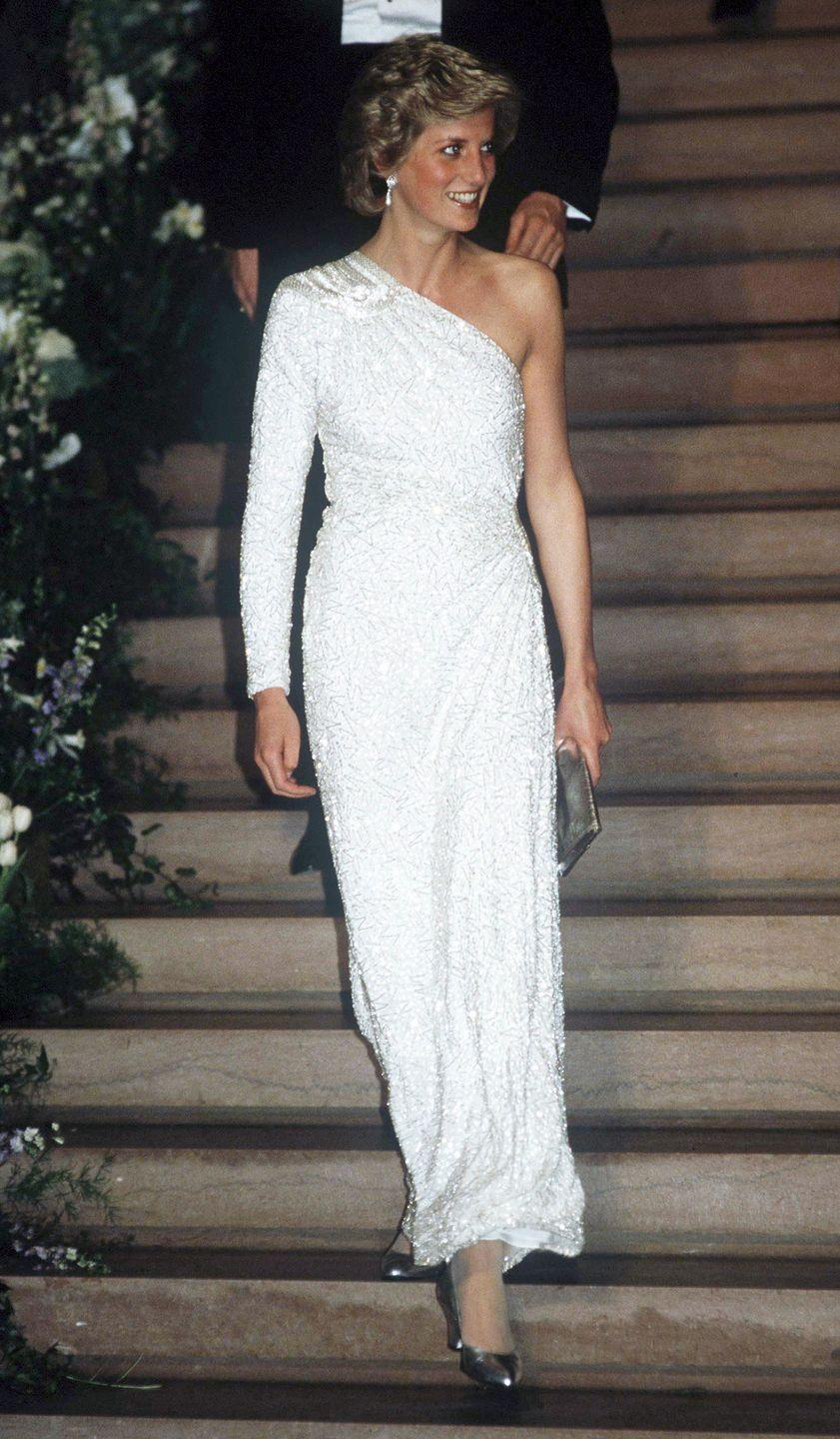 <p>The Princess chose a white, crystal-beaded silk chiffon gown by Japanese designer Hachi for an event at the National Gallery in Washington D.C. </p>