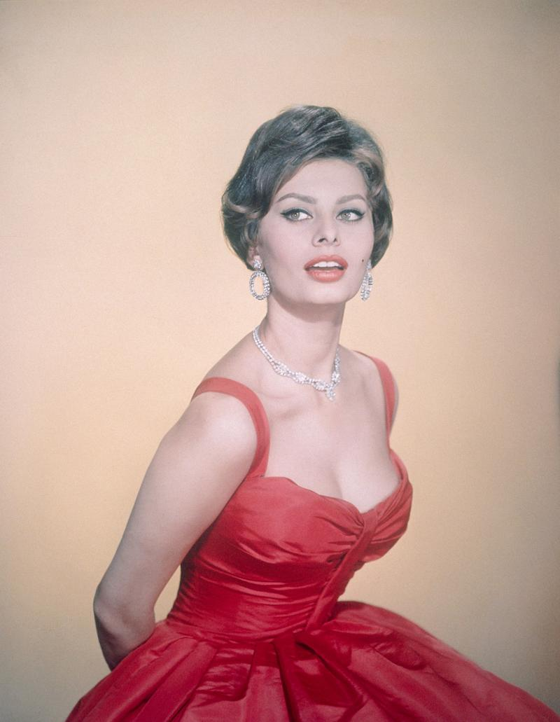 The Italian actress wears a red dress in this undated photo.