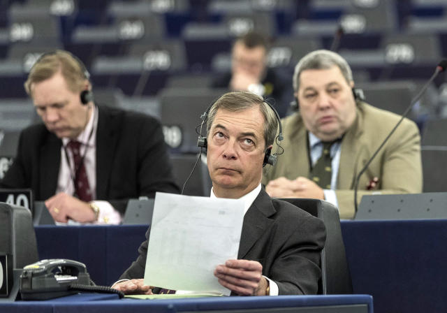 """Former U.K. Independence Party (UKIP) leader Nigel Farage listens at the European Parliament during a debate on Brexit, Wednesday, Jan.16, 2019 in Strasbourg, eastern France. European Union Brexit negotiator Michel Barnier says the bloc is stepping up preparations for a chaotic no-deal departure of Britain from the bloc after the rejection of the draft withdrawal deal in London left the EU """"fearing more than ever that there is a risk"""" of a cliff-edge departure. (AP Photo/Jean-Francois Badias)"""