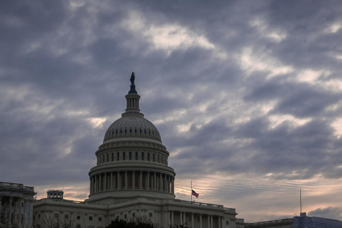 FILE - In this Dec. 14, 2018, file photo the Capitol is seen in Washington. Legislation to ease federal sentencing laws is pitting conservatives against each other as President Donald Trump looks to score a major legislative win before the end of the year. (AP Photo/J. Scott Applewhite, File)