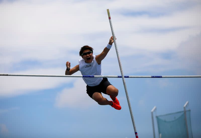 So Sato, a deaf and transgender pole vaulter, works out during a camp training with other deaf athletes in Utsunomiya, Japan
