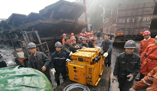 The flood happened when 347 people were working underground, CCTV reported. Photo: Weibo