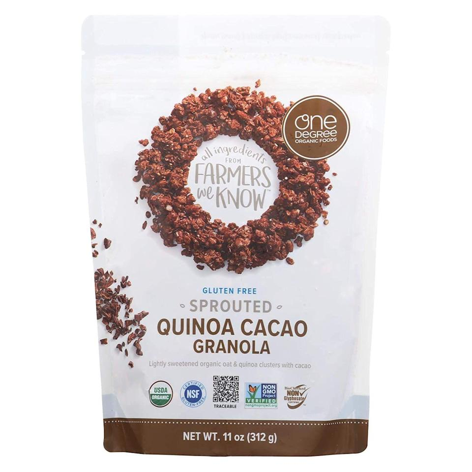 """<p><strong>One Degree Organic Foods</strong></p><p>amazon.com</p><p><strong>$43.70</strong></p><p><a href=""""https://www.amazon.com/dp/B077NN8VND?tag=syn-yahoo-20&ascsubtag=%5Bartid%7C10055.g.34163028%5Bsrc%7Cyahoo-us"""" rel=""""nofollow noopener"""" target=""""_blank"""" data-ylk=""""slk:Shop Now"""" class=""""link rapid-noclick-resp"""">Shop Now</a></p><p>Sprouted oats are the star of the show in this flavorful granola from One Degree Organic Foods. <strong>The brand works with small farmers and producers who use sustainable plant-based methods.</strong> This variety is gluten-free, USDA Organic and Non-GMO Project Verified. Plus, it's one of the healthiest vegan granola options out there.</p><p><strong>Nutrition Facts (1/3 cup): </strong>120 cal, 3g total fat, 0g sat fat, 0g trans fat, 0mg cholesterol, 15mg sodium, 20g total carbohydrate, 2g dietary fiber, 5g total sugars, 5g added sugars, 3g protein</p>"""