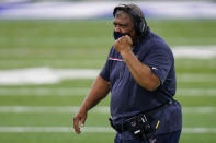 Houston Texans head coach Romeo Crennel on the sideline in the second half of an NFL football game against the Indianapolis Colts in Indianapolis, Sunday, Dec. 20, 2020. (AP Photo/AJ Mast)