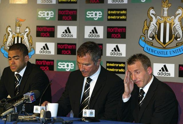 Bowyer (right) sat with Graeme Souness (centre) and Dyer (left) at the postmatch press conference (Owen Humphreys/PA).