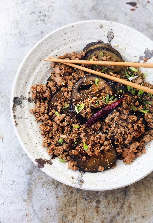 """<p>Ditch Chinese takeout and still satisfy your craving with this healthy, protein-dense and keto-friendly eggplant and pork recipe by<a href=""""https://www.ruled.me/spicy-eggplant-and-minced-pork/"""" rel=""""nofollow noopener"""" target=""""_blank"""" data-ylk=""""slk:Ruled.me"""" class=""""link rapid-noclick-resp""""> Ruled.me</a>. It uses wonderful spices and sauces like garlic, tamari, and red pepper flakes, and you'd be eating this meal with chopsticks, which will also help slow down your eating to promote weight loss.</p>"""