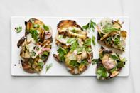 """There's something really satisfying about making a meal over a live fire, no matter what's on the grate. Grilling king trumpet mushrooms turns them deeply savory and tender with a meaty bite. But if you can't find them, crimini mushrooms will also work just fine. The only condiment the grilled mushrooms need is Pecorino salsa verde, a tasty remix of a sauce I learned during my time as sous-chef at San Francisco mainstay Zuni Café. Pecorino Romano has an assertive flavor on its own, but tempered by herbs and olive oil it's the perfect accompaniment to grilled vegetables. This sandwich works great as a salad too: Just tear the grilled bread into smaller chunks, slice the grilled mushrooms in half, and toss in a bowl before serving. <a href=""""https://www.epicurious.com/recipes/food/views/open-face-mushroom-sandwiches-pecorino-salsa-verde?mbid=synd_yahoo_rss"""" rel=""""nofollow noopener"""" target=""""_blank"""" data-ylk=""""slk:See recipe."""" class=""""link rapid-noclick-resp"""">See recipe.</a>"""
