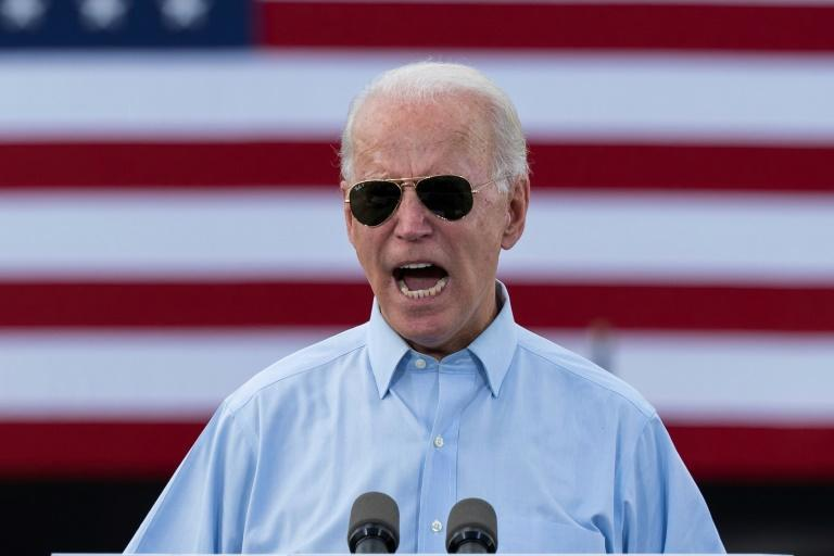 Democratic White House candidate Joe Biden delivers remarks at a drive-in event in Coconut Creek, Florida, on October 29, 2020