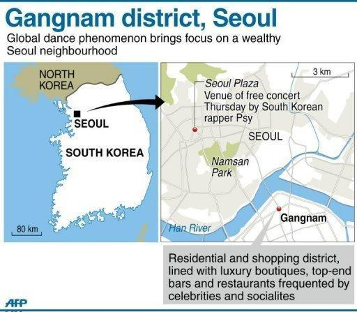 """Graphic map showing Gangnam district in the South Korean capital. South Korean rapper Psy has brought his hit """"Gangnam Style"""" home with a raucous free concert in Seoul, capping a month of global chart success that turned the chubby 34-year-old into a national hero"""