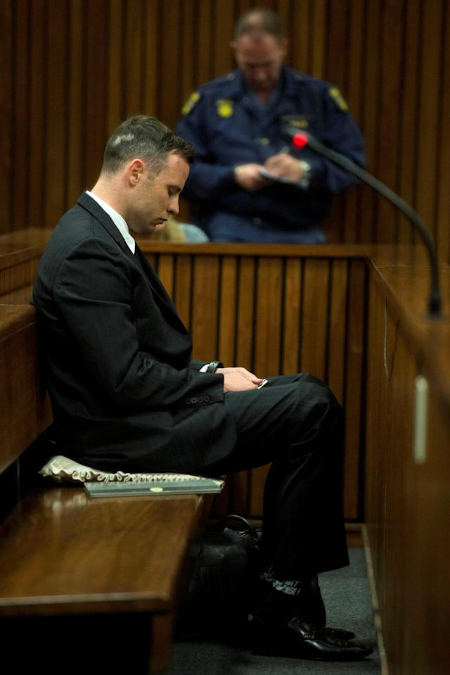 Former Paralympian Oscar Pistorius appears for sentencing for the murder of Reeva Steenkamp at the Pretoria High Court, South Africa June 14, 2016. REUTERS/Deaan Vivier/Pool