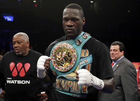 FILE PHOTO - Deontay Wilder celebrates after knocking out Artur Szpilka in the ninth round of their heavyweight title boxing fight at Barclays Center, in Brooklyn, New York, U.S., January 16, 2017. Mandatory Credit: Adam Hunger-USA TODAY Sports