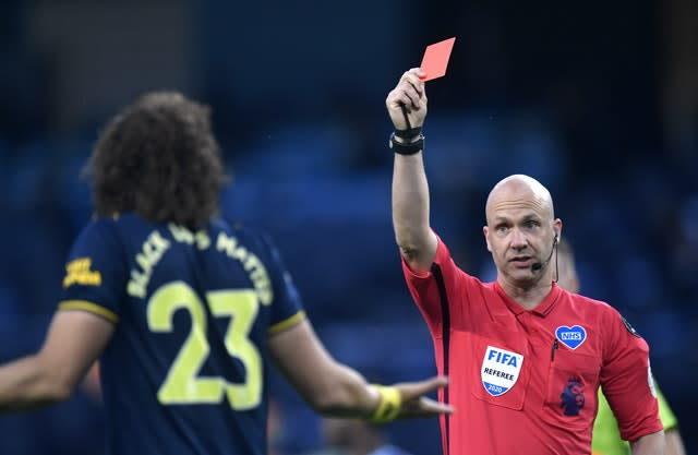 David Luiz was sent off having come on as a substitute at Man City (Peter Powell/NMC Pool)