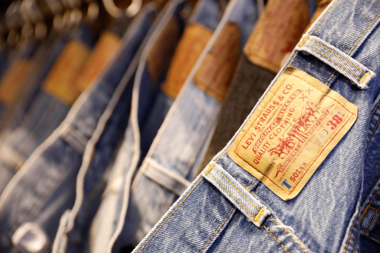 Jeans trousers are displayed at a Levi Strauss store in New York, U.S., March 19, 2019. REUTERS/Shannon Stapleton