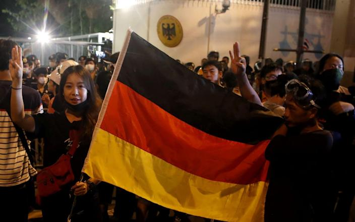 Pro-democracy demonstration at the German embassy in Bangkok - DIEGO AZUBEL/EPA-EFE/Shutterstock