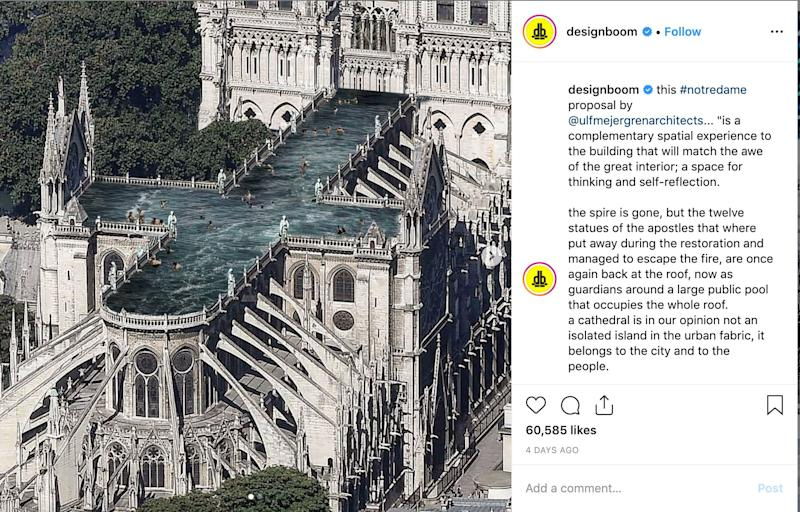 Pictures of the rooftop pool proposed for Notre Dame have garnered more than 60,000 likes on Instagram