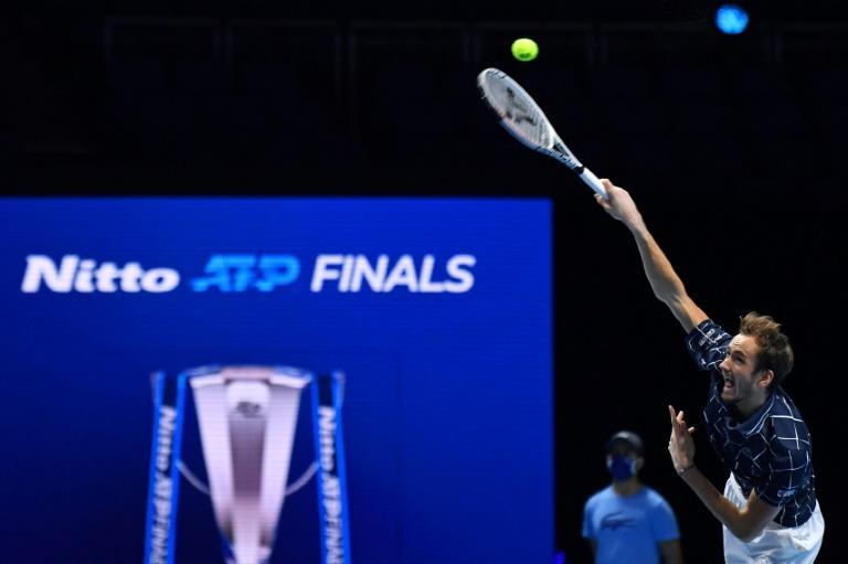 Russia's Daniil Medvedev serves to Spain's Rafael Nadal during their last-four match at the ATP Finals
