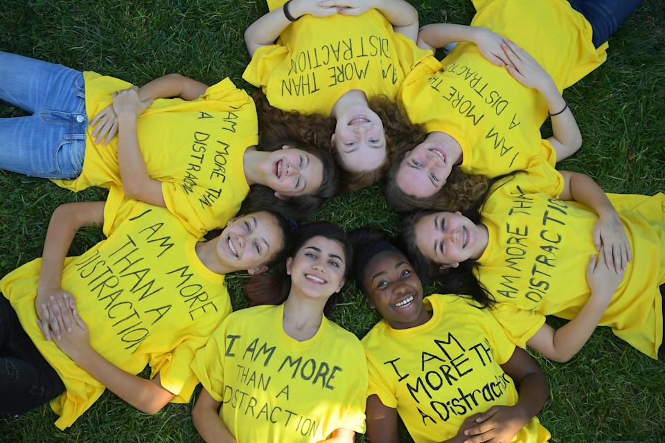 "URBANA, MD - OCTOBER 30: Urbana Middle School girls wearing homemade T-shirts with ""I am more than a distraction"" clockwise from top Sophie Beers-Arthur, Sola Beers-Arthur, Allison Crittenden, Summer Campbell, Sophia Plaschke, Emma Sweeney, and Abby Carioti October 30, 2016 in Urbana, MD.  The  Frederick County middle school girls protested and spurred change and now are helping to rewrite the dress code at Urbana Middle School that they say unfairly discriminates against girls.               (Photo by Katherine Frey/The Washington Post via Getty Images)"