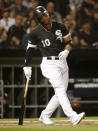 Chicago White Sox's Yoan Moncada reacts after striking out during the sixth inning of a baseball game against the against the Miami Marlins Wednesday, July 24, 2019, in Chicago. (AP Photo/Charles Rex Arbogast)