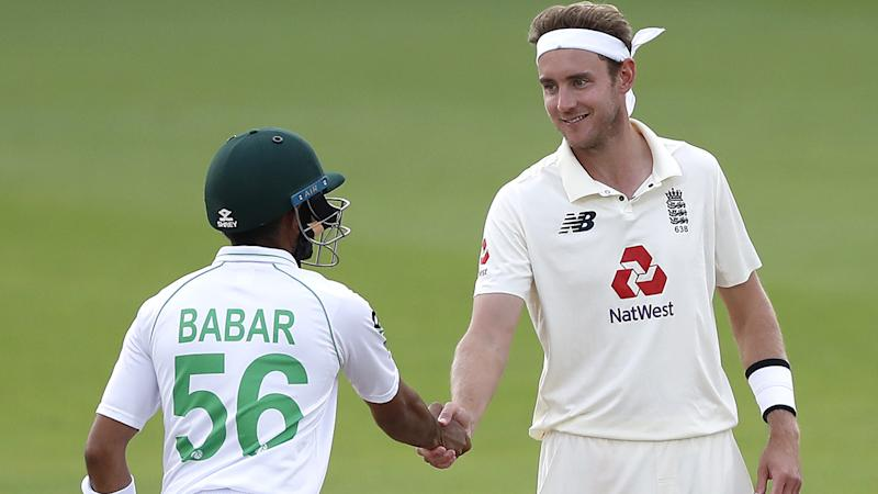 England's Stuart Broad shakes hands with Pakistan's Babar Azam after England won the test series 1-0 during day five of the third Test match at the Ageas Bowl, Southampton. (Photo by Alastair Grant/PA Images via Getty Images)