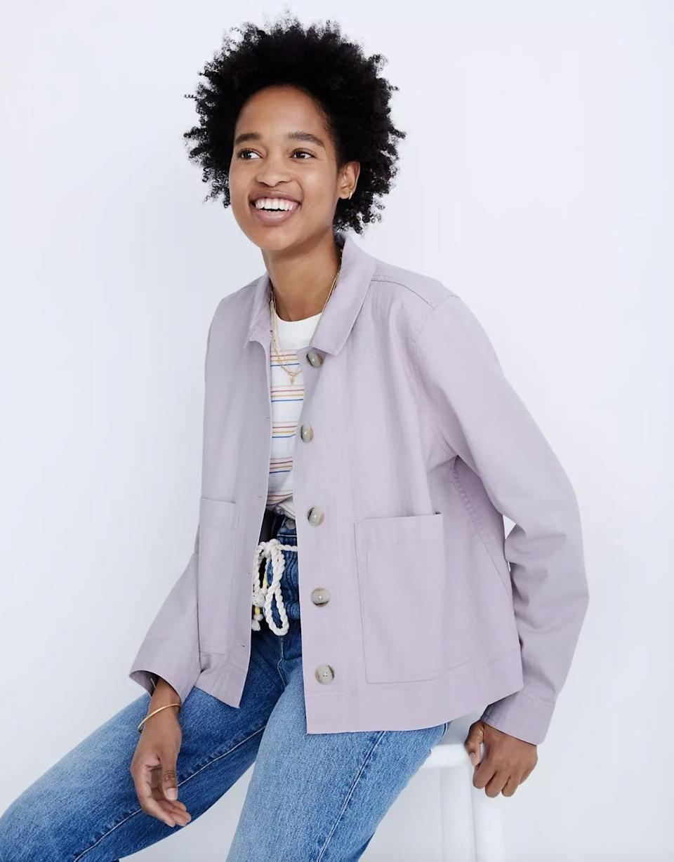 <p>This pastel-colored <span>Madewell Connor Cropped Chore Jacket</span> ($75, originally $128) is perfect for the changing weather.</p>