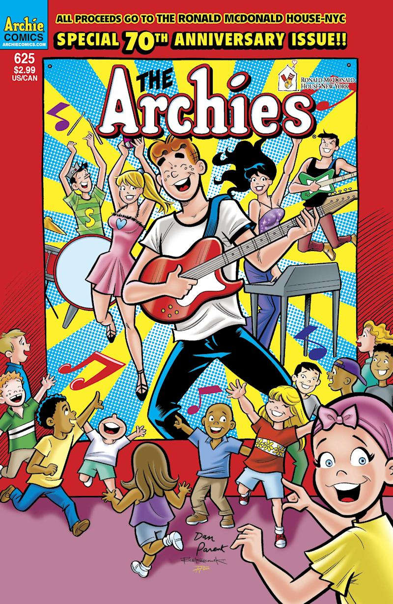 "In this comic book cover released by Archie Comics, the special 70th anniversary issue of ""The Archies,"" is shown. Archie  Comics is celebrating its 70th year publishing comic books by focusing the next issue on helping treat kids with cancer and donating the profit from it to the Ronald McDonald House New York. (AP Photo/Archie Comics)"