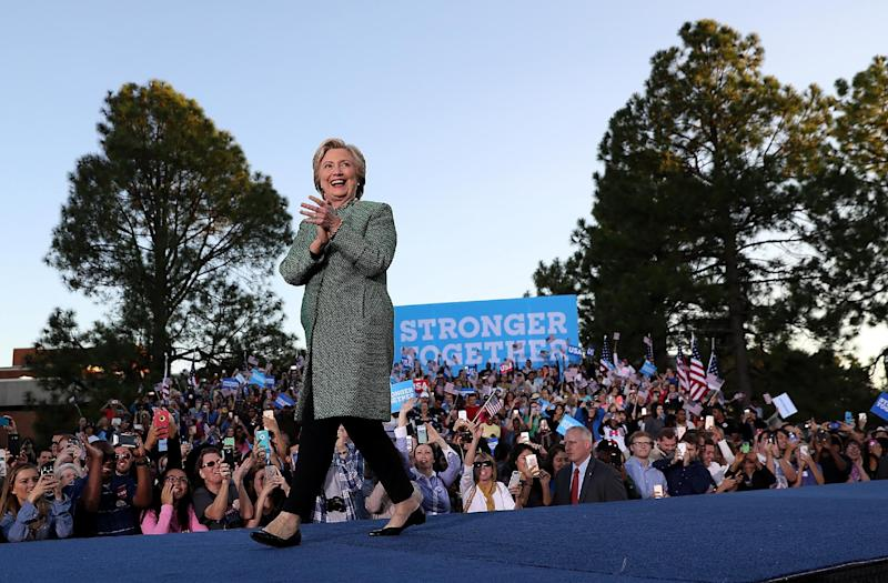 Democratic presidential nominee Hillary Clinton greets supporters during a campaign rally at the University of North Carolina at Charlotte on Oct. 23, 2016, in Charlotte, N.C. (Photo: Justin Sullivan/Getty Images)