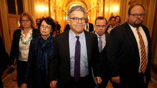 PHOTO: Sen. Al Franken and his wife Franni Bryson arrive at the U.S. Capitol Building, Dec. 7, 2017, in Washington, DC. (Chip Somodevilla/Getty Images)