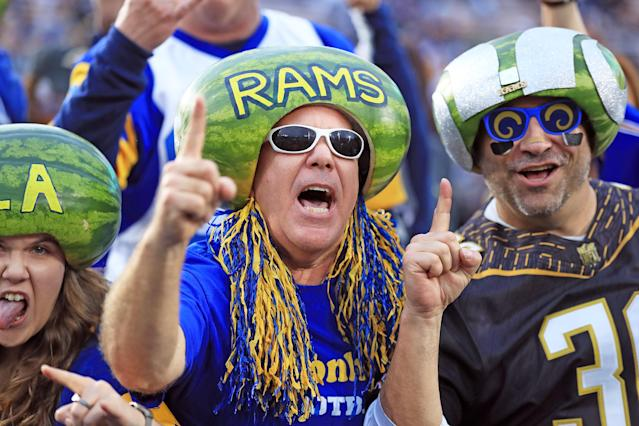 <p>The Melonheads attends the NFC Wild Card Playoff Game between the Los Angeles Rams and Atlanta Falcons at the Los Angeles Coliseum on January 6, 2018 in Los Angeles, California. (Photo by Sean M. Haffey/Getty Images) </p>