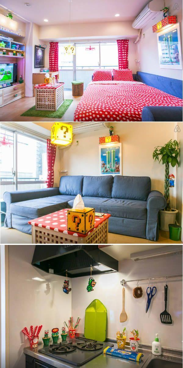 This interior of this Nintendo-inspired apartment in an ode to Super Mario Bros.  Kingdom of mushrooms.