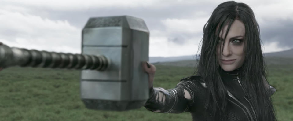 Heal destroying Mjolnir in the theatrical release of <i>Ragnarok</i>. (Photo: Marvel Studios)