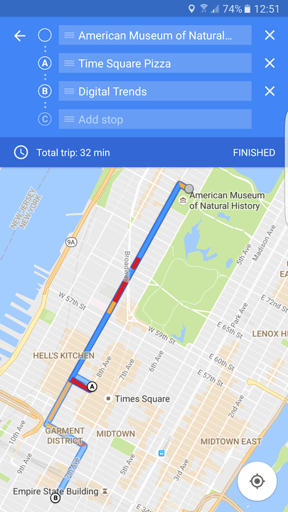 how to add stops on google maps