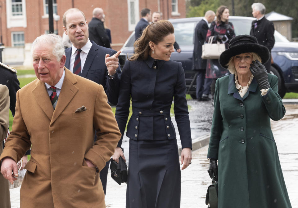 LOUGHBOROUGH, ENGLAND - FEBRUARY 11: Prince Charles, Prince of Wales and Camilla, Duchess of Cornwall with Catherine, Duchess of Cambridge and Prince William, Duke of Cambridge visit the Defence Medical Rehabilitation Centre Stanford Hall to meet patients and staff on February 11, 2020 in Loughborough, United Kingdom. (Photo by Mark Cuthbert/UK Press via Getty Images)