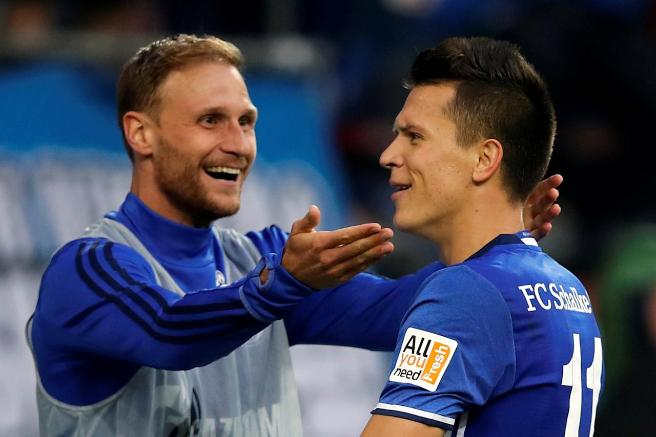 Soccer Football - Bundesliga - Schalke 04 vs RB Leipzig - Gelsenkirchen, Germany - August 19, 2017   Schalke's Yevhen Konoplyanka celebrates scoring their second goal with Benedikt Howedes   REUTERS/Wolfgang Rattay     DFL RULES TO LIMIT THE ONLINE USAGE DURING MATCH TIME TO 15 PICTURES PER GAME. IMAGE SEQUENCES TO SIMULATE VIDEO IS NOT ALLOWED AT ANY TIME. FOR FURTHER QUERIES PLEASE CONTACT DFL DIRECTLY AT + 49 69 650050     TPX IMAGES OF THE DAY
