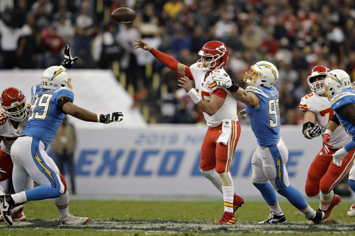 It wasn't pretty, but the Chiefs picked up a critical win over the Chargers in Mexico City. (AP Photo/Marcio Jose Sanchez)